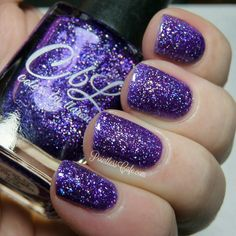 Colors by llarowe August 2016 PotM - A Galaxy Far, Far Away - purple jelly base with shimmering holo flakes. Depending upon the light this polish looks purple, blurple and sometimes even blue. This polish glows in sun and shade with a gorgeous scattered holo effect. Swatch by @scottishlass10