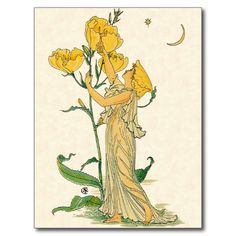 Vintage illustration classic children's fairy tale design titled Evening Primrose by artist Walter Crane, 1889. A small woman, the size of Thumbelina, is looking up at a beautiful yellow flower with a moon and star in the night sky. <br>Flora's Feast: A Masque of Flowers. <br>Ere evening primrose lights her lamp. A beacon to the garden camp. This design features a woman with yellow flowers, a crescent moon and a star in the night sky.