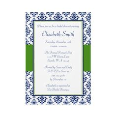 Navy Blue and Green Damask Bridal Shower Custom Invite