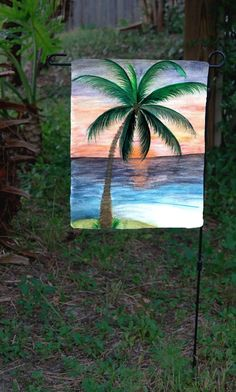 Sunset palm tree beach garden flag - Art Gifts by the Beach