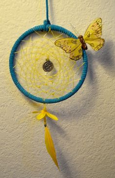 Newest dreamcatcher! Teal and yellow :D