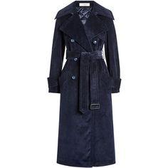 Nina Ricci Corduroy Trench Coat ($2,579) ❤ liked on Polyvore featuring outerwear, coats, trench coat, blue, button up coat, belted coats, corduroy coat, blue coat and nina ricci coat