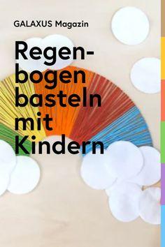 Er ist ein Trendstück: Der Regenbogen. Mit dieser simplen Anleitung können ihn deine Kinder ganz einfach nachbasteln. Textiles, Diy And Crafts, Daycare Ideas, Rainbow, Day Care, Boyfriends, Cloths, Fabrics