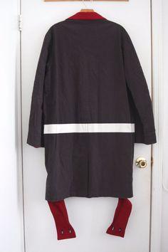 Unique Helmut Lang 1997 Navy Overcoat w Paint Stripe Bondage Straps 46   eBay