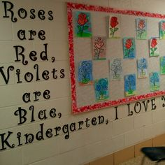 Valentine's Day Bulletin Board Roses are Red Violets are Blue Kindergarten I Love You! Valentines Day Bulletin Board, Valentines Day Activities, Teaching Tips, Teaching Reading, Learning, Classroom Bulletin Boards, Classroom Decor, February Holidays, March