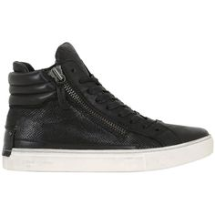 Crime Women 40mm Leather High Top Sneakers ($205) ❤ liked on Polyvore featuring shoes, sneakers, black, zipper sneakers, leather high tops, black shoes, high top sneakers and black leather shoes