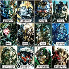 Birthday Month = Your Guardian Comment below who you got! ⬇️⬇️⬇️ • #Transformers #Transformers5 #TF #Megatron #OptimusPrime #Autobots #Decepticons #Bumblebee #Heroes #Villains #Robots #AI #VFX #Calendar #Good #Evil #Guardian