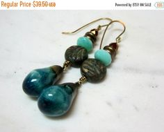 Gifts for Her. Under OOAK. Shop Sale, Black Friday, Dangle Earrings, Dangles, Gifts For Her, Teal, Ceramics, Trending Outfits, Unique Jewelry