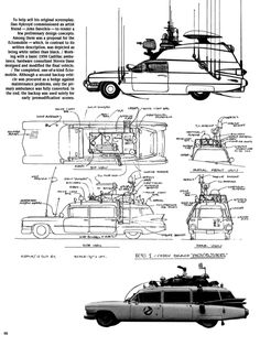 design for the Ghostbusters' Ectomobile, based on a 1959 Cadillac ambulance