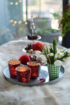 holiday decor in red and green