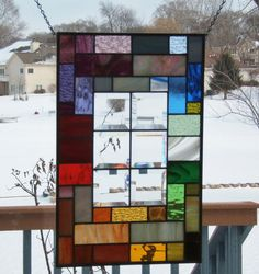 Beveled stained glass panel window geometric rainbow by SGHovel