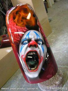 Epic Firetruck's Motor'sicle Paint - Paint by Jason Prouty - Garage 31 ~ Custom Paint Motorcycle, Motorcycle Tank, Airbrush Designs, Airbrush Art, Air Brush Painting, Car Painting, Paint Bike, Motos Harley Davidson, Custom Tanks