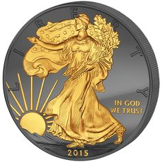 Golden Enigma Walking Liberty 1oz silver 24K Gilded Ruthenium USA 2015