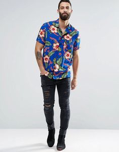 Image 4 of Religion Hawaiian Print Short Sleeve Shirt Religion, Asos, Aloha Shirt, Hawaiian Print, Printed Shorts, Shirt Sleeves, Fashion Online, Button Down Shirt, Men Casual