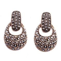 luxury style big round crystal stud earrings for women