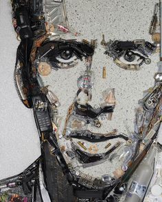 Art by Jason Mecier, 1968    Nicolas Cage, 2010    Mixed media on panel    Jason has spent over 10 years creating outrageous 3-D mosaic portraits of his favorite pop culture icons. Each portrait is created from the celebrities own discarded objects and junk such as broken sunglasses, make-up, gum wrappers, jewelry, deodorant, shoes, and other items. Participants include Phyllis Diller, Rosie O'Donnell, Florence Henderson, Mary-Louise Parker, Amy Sedaris, Parker Posey, Ricki Lake, RuPaul…
