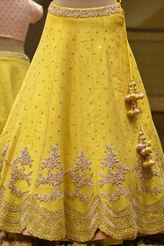 A Yellow Raw Silk Zardosi Embroidered Bridesmaid Lehenga Call/WhatsApp for Purchase Inqury : Raw Silk Lehenga, Yellow Lehenga, Red Lehenga, Lehenga Choli, Lehenga Style, Floral Lehenga, Lehenga Skirt, Lehenga Blouse, Indian Bridal Outfits