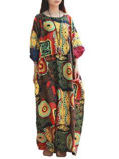 Vintage Printing Robe Dress