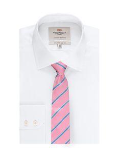 Men's Lt Pink & Lt Blue College Stripe - 100% Silk Tie