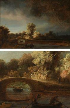 The Stone Bridge, Rembrandt Great Art Website!!! linesandcolors.com