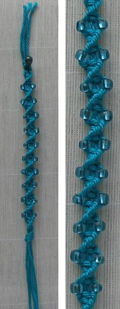 macrame bracelet tutorial no pin availability put bead on both outside strands every forth macramé knot Hemp Jewelry, Macrame Jewelry, Macrame Bracelets, Jewelry Crafts, Handmade Jewelry, Jewellery, Macrame Knots, Loom Bracelets, Macrame Bracelet Tutorial