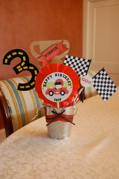 4piece Race Car Birthday Party Centerpiece by BeasPartyDesigns, $20.00