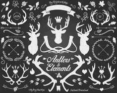 #chalkboard #clipart #antlers #silhouettes #deer #arrows #hearts #crowns #huntinghorns