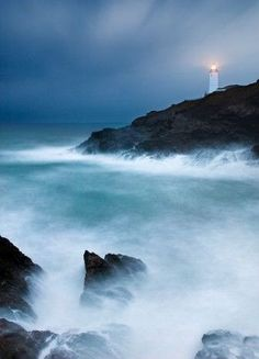 Trevose Head Lighthouse is a lighthouse on Trevose Head on the north Cornish coast (southwest England) near Padstow. The tower is 27 metres tall, and has a range of 20 nautical miles, but, on a clear night, you can just spot the light from Pendeen Lighthouse, over 35 miles away.