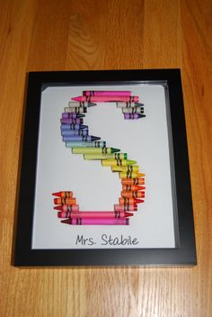Personalized Teacher Gift: Framed Monogram in crayon or pencil. $27.50, via Etsy.