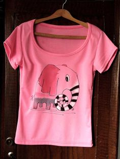 Pink painted tshirt . Hand paint tee with by AHouseAtelier on Etsy, $40.00