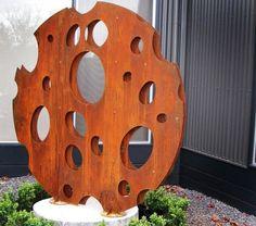 déco jardin figurine imitation des troux de fromage en acier corten