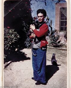This shot by Florence Arquin shows Kahlo at home with monkey Fulang Chang, taken in 1938