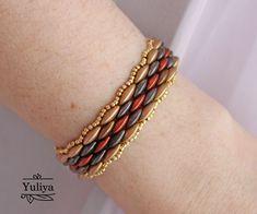 Beaded Bracelets Tutorial, Beaded Bracelet Patterns, Beading Patterns, Link Bracelets, Beaded Jewelry, Unique Jewelry, Beading Needles, Beading Tutorials, Aztec Gold