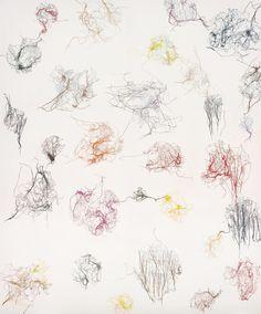 Ghada Amer (b. 1963), Untitled, 1994. Coloured pencil and cotton on canvas, 180 x 150.3 cm.  via mentaltimetraveller