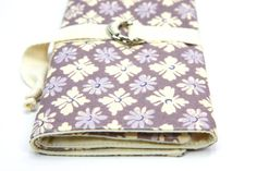 "SHORT -17.5"" wide x 8.5"" high- dpns or Circular Knitting Needle Organizer Case - Lavender Carousel - 24 natural cotton pockets - Art Tool Case..."