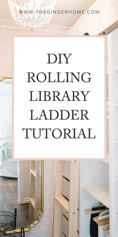 Library Ladder, Ladder Bookcase, Bookcases, Wooden Projects, House Projects, Small Master Closet, Craftsman Style Exterior, Rolling Ladder, Custom Closet Design
