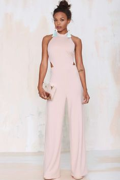 Make 'em blush in this light pink jumpsuit we designed right here in Los Angeles.