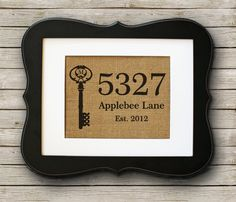 Personalized Housewarming Gift on Burlap ~ Home Address Sign with Monogram Key on Etsy, Homemade Gifts, Diy Gifts, Best Gifts, House Address Sign, Burlap Art, Personalized Housewarming Gifts, Make Do And Mend, Printing On Burlap, Up House