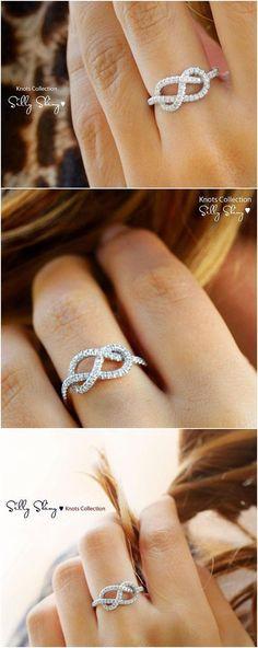 Infinity  Ring - The Original, 14K/18K Gold Ring, 0.35 CT Diamond Ring, Unique Ring, Infinity Knot Ring