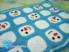 Crochet Snowman Granny Square and Blanket - free pattern. Crochet Snowman Granny Square and Blanket by Erangi Udeshika of Crochet For You Slip Stitch Crochet, Crochet Motif, Free Crochet, Crochet Ideas, Crochet For Beginners Blanket, Crochet Blanket Patterns, Crochet Afghans, Crochet Blankets, Beginner Crochet