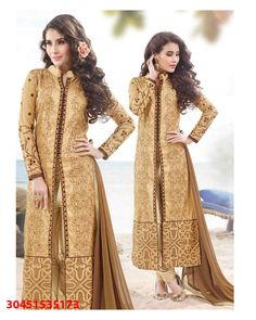 27c10cf9f535 Beige luxuriant Embroidered Cotton Satin Salwar Suits for women(Semi  Stitched) Fabric  Cotton Satin Work  Embroidered Type  Salwar Suits for  women(Semi ...