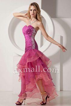 Drop Waist Prom dresses Sweetheart Short/Mini Organza Satin Fuchsia W6001070007
