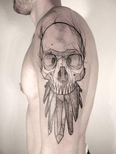 Black Geometric Skull Tat | Best tattoo ideas & designs