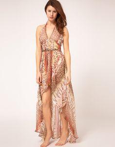 River Island Animal Print Chiffon Halter Maxi Dress  $56.77
