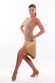 NEW Beautiful Gold Cara Couture Latin Dress. Size UK 8/10. decorated with Gold lace and a mix of Swarovski and Preciosa Crystal AB stones. Plus Gold