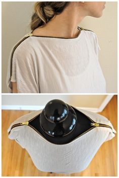 truebluemeandyou:  DIY Tee Shirt Restyle with Zipper Neckline Tutorial. I love zippers in crafting and have posted  jewelry, accessories and clothing made with them here. Tutorial from Trash to Couture here.