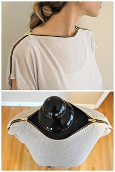 DIY Tee Shirt Restyle with Zipper Neckline Tutorial.