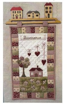 use this border layout around large applique church scene block Mini Quilts, Small Quilts, Baby Quilts, Hanging Quilts, Quilted Wall Hangings, Patch Quilt, Applique Quilts, Marie Suarez, Quilt Hangers