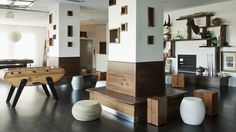 built in cubes & wrap around seating for structure bearing columns. Bungalow Hotel Design in Long Branch, New Jersey