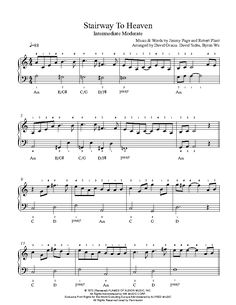 Stairway To Heaven by Led Zeppelin Piano Sheet Music | Intermediate Level